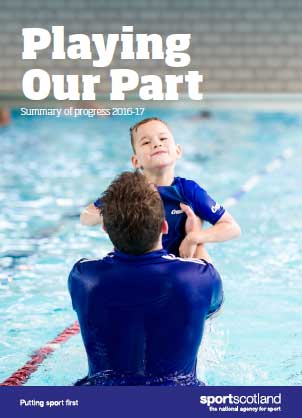 document cover featuring child with swimming teacher